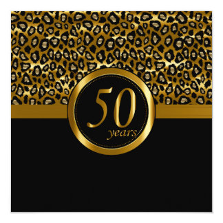 50th Golden Years Leopard Animal Print Card