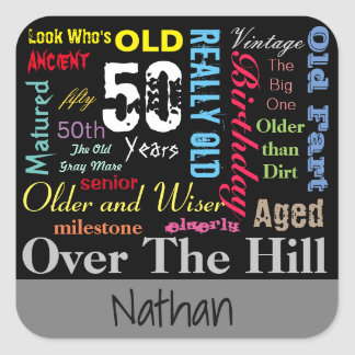 50th Happy Birthday | Milestone Square Sticker