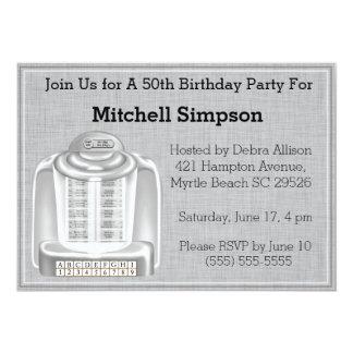 50th Jukebox  Birthday Invitations