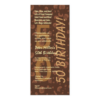50th Modern Birthday Chocolate Coffee Camo Tall 10 Cm X 24 Cm Invitation Card