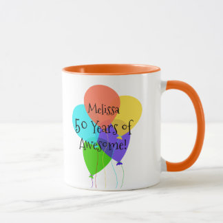 50th or Any Age Personalized Name Birthday Gift Mug