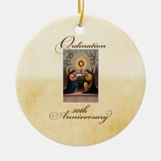 50th Ordination Anniversary Angels at Altar Ceramic Ornament