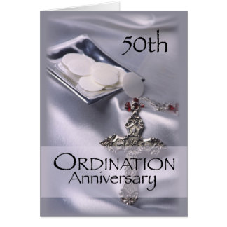 50th Ordination Anniversary with Cross & Hosts in Card