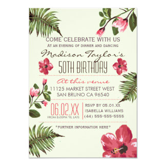 50th Party Exotic Hibiscus & Tropical Palm Leaves 11 Cm X 16 Cm Invitation Card