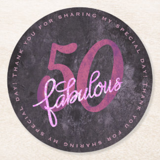 50th Pink Purple | 50 and Fabulous Custom Party | Round Paper Coaster