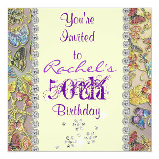 50TH PURPLE BUTTERFLY Birthday Invitation BLING