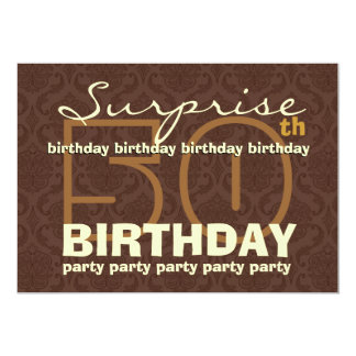 50th SUPRISE Birthday Chocolate and Gold W044A Custom Invitations