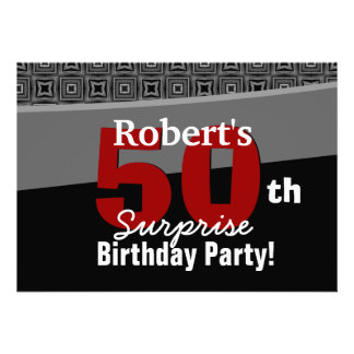 50th Surprise Birthday Black White Red W1920 Card