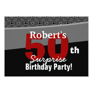50th Surprise Birthday Black White Red W1920 Card