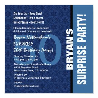 50th SURPRISE Birthday Modern Hues of Blue S693 Invitation