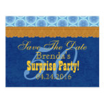 50th SURPRISE Birthday Save the Date Blue Gold V1B