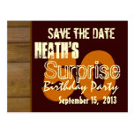 50th Surprise Birthday Save the Date Brown WOod Postcard