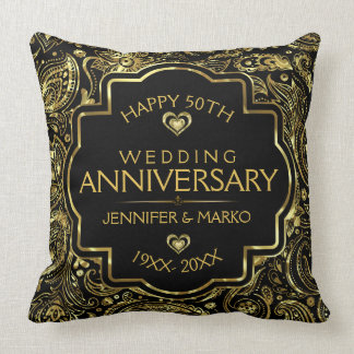 50th Wedding Anniversary Black And Gold Design Throw Pillow