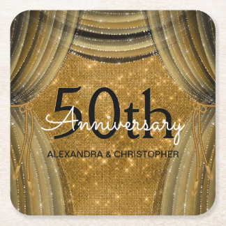 50th Wedding Anniversary Black and Gold Sparkle Square Paper Coaster