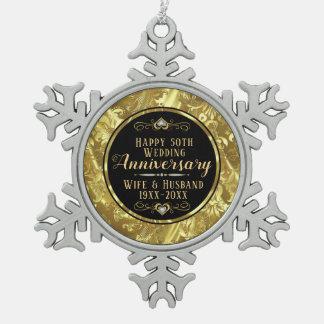 50th Wedding Anniversary Black & Gold Snowflake Pewter Christmas Ornament