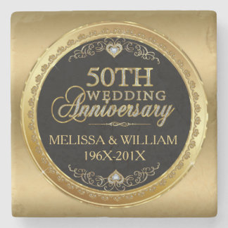 50th Wedding Anniversary Black & Gold Stone Coaster