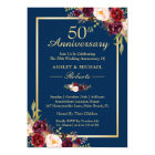 50th Wedding Anniversary Burgundy Floral Navy Blue Card