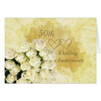 50th Wedding Anniversary Card, white- cream roses