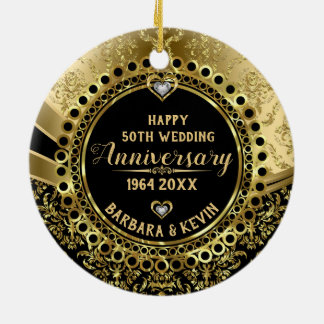 50th Wedding Anniversary Diamonds & Gold Damasks Ceramic Ornament