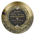 50th Wedding Anniversary Floral Black & Gold 3 Plate