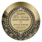 50th Wedding Anniversary Floral Black & Gold 4a Plate