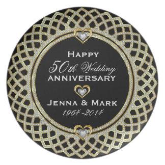50th Wedding Anniversary Glitter & Gold Plate