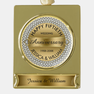 50th Wedding Anniversary-Gold & Diamonds Gold Plated Banner Ornament