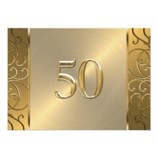 50th Wedding Anniversary Gold Filigree Swirls Custom Invitations