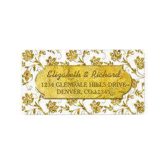 50th Wedding Anniversary Gold Flora Return Address Address Label