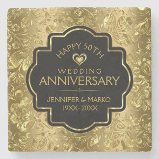 50th Wedding Anniversary & Gold Floral Damasks Stone Coaster