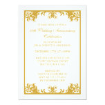 50th Wedding Anniversary Gold Flourish Scroll Personalised Invitations