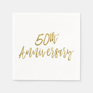 50th Wedding Anniversary Gold Foil Napkins Disposable Serviettes