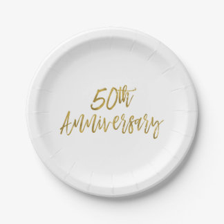 50th Wedding Anniversary Gold Foil Paper Plate