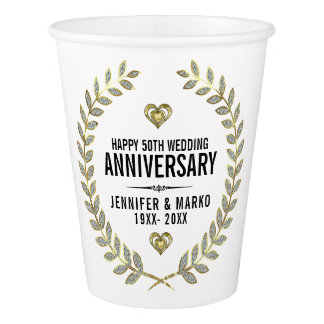 50th Wedding Anniversary Gold Glitter Wreath Paper Cup