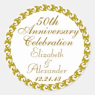 50th Wedding Anniversary-Gold Medallion Classic Round Sticker