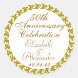 50th Wedding Anniversary-Gold Medallion Round Sticker
