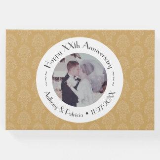 50th Wedding Anniversary Gold Photo Damask Pattern