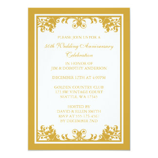 50th Wedding Anniversary Golden Flourish Scroll 13 Cm X 18 Cm Invitation Card
