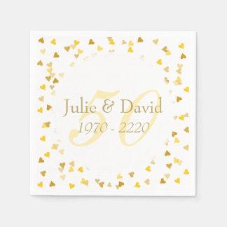 50th Wedding Anniversary Golden Hearts Confetti Disposable Napkins