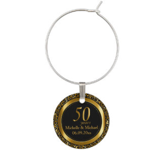 50th Wedding Anniversary in a Gold Leopard Pattern Wine Charm