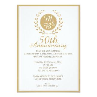 50th Wedding Anniversary Invitation 11 Cm X 16 Cm Invitation Card