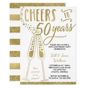50th Wedding Anniversary Invitation, Faux Glitter Invitation