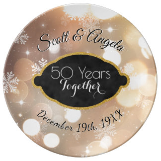 50th Wedding Anniversary Keepsake Golden 50 Years Plate