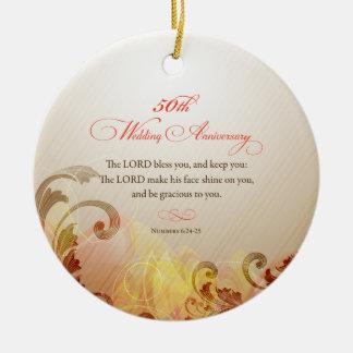 50th Wedding Anniversary, Lord Bless & Keep Ceramic Ornament