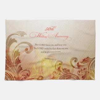 50th Wedding Anniversary, Lord Bless & Keep Tea Towel
