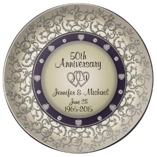50th Wedding Anniversary Monogram Plate