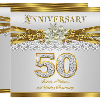 50th Wedding Anniversary Party Gold White Pearl Card