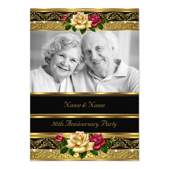50th Wedding Anniversary Party Rose Gold Photo 3 Card