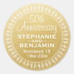 50th Wedding Anniversary Personalised gold Round Sticker