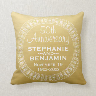 50th Wedding Anniversary Personalised gold Throw Pillow